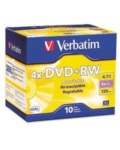 Verbatim® Dvd+Rw Discs, 4.7Gb, 4X, W/Slim Jewel Cases, Pearl, 10/Pack