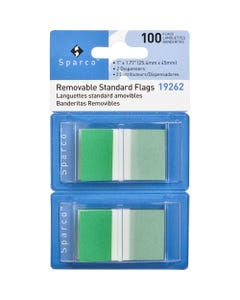 """Sparco Removable Standard Flags Dispenser - 100 x Green - 1.75"""" x 1"""" - Rectangle - Green - See-through, Self-adhesive, Removable - 1 / Pack"""
