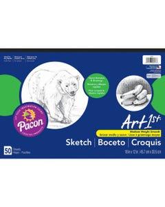 "UCreate Medium Weight Sketch Pads - 50 Sheets - 18"" x 12"" - White Paper - Mediumweight, Acid-free - Recycled - 50 / Pad"