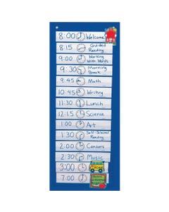 """Carson Dellosa Education Scheduling Pocket Chart - 14 Pocket(s) - 33"""" Height x 13"""" Width - Blue - Nylon - 1Each"""