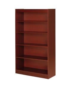 "Lorell Five Shelf Panel Bookcase - 36"" x 12"" x 60"" x 0.8"" - 5 Shelve(s) - Material: Veneer, Wood - Finish: Cherry"