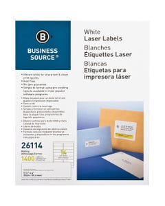 """Business Source Bright White Premium-quality Address Labels - Permanent Adhesive - 1 1/3"""" Width x 4"""" Length - Rectangle - Laser, Inkjet - White - 14 / Sheet - 100 Total Sheets - 1400 / Pack"""