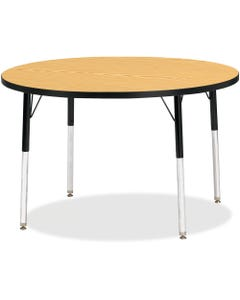 """Berries Adult Height Color Top Round Table, Black Oak Round, Laminated Top, Four Leg Base, 4 Legs, 1.13"""" Table Top Thickness x 42"""" Table Top Diameter, 31"""" Height, Assembly Required, Powder Coated"""