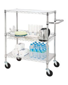 """Lorell 3-Tier Rolling Carts - 99 lb Capacity - 4 Casters - Steel - x 18"""" Width x 30"""" Depth x 40"""" Height - Chrome - 1 / Each"""