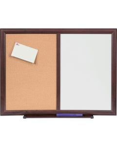 """Lorell Dry-Erase/Bulletin Combo Board - 36"""" (3 ft) Width x 48"""" (4 ft) Height - Melamine Surface - Mahogany Wood Frame - 1 Each"""