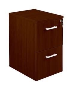 "Lorell Concordia Laminate Desk Ensemble Pedestal - 2-Drawer - 15.8"" x 21.9"" x 27"" - 2 x File Drawer(s) - Finish: Laminate, Mahogany"