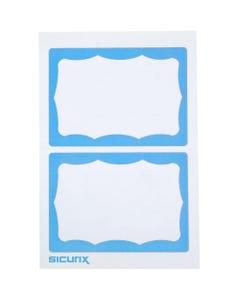 "SICURIX Self-adhesive Visitor Badge - 3 1/2"" Width x 2 1/4"" Length - White, Blue - 100 / Box"
