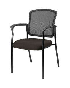 Lorell Breathable Mesh Guest Chairs - Fabric Seat - Black, Powder Coated Steel Frame - Pepper - 1 Each