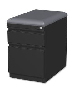 """Lorell Mobile Pedestal File with Seating, 2-Drawer, 15"""" x 19.9"""" x 23.8"""", 2 x Drawer(s) for Box, File, Letter, 305.50 lb Load Capacity, Ball-bearing Suspension, Drawer Extension, Black, Steel, Recycled"""