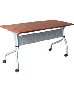 "Lorell Cherry Flip Top Training Table, Rectangle Top, Four Leg Base, 4 Legs, 23.60"" Table Top Width x 72"" Table Top Depth, 29.50"" Height x 70.88"" Width x 23.63"" Depth, Cherry, Nylon"
