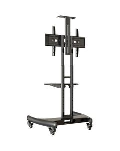 """Lorell Flat Panel TV Cart - 32"""" to 70"""" Screen Support - 100 lb Load Capacity - Flat Panel Display Type Supported - Steel - Black"""