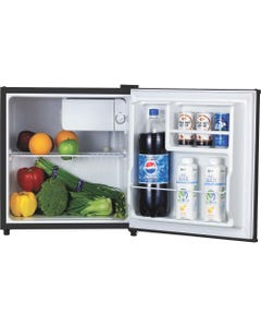 Lorell 1.6 cu.ft. Compact Refrigerator - 1.60 ft³ - Manual Defrost - Reversible - 1.60 ft³ Net Refrigerator Capacity - Black - Steel, Fiberglass, Plastic