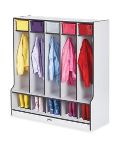 """Rainbow Accents Step 5 Section Locker - 5 Compartment(s) - 50.5"""" Height x 48"""" Width x 17.5"""" Depth - Black - 1Each"""