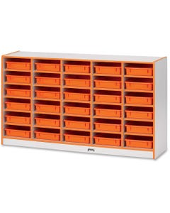"""Rainbow Accents Rainbow Mobile Paper-Tray Storage - 30 Compartment(s) - 35.5"""" Height x 60"""" Width x 15"""" Depth - Orange - Rubber - 1Each"""