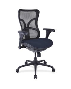 """Lorell High-back Fabric Seat Chair - Periwinkle Blue Fabric Seat - Black Plastic Frame - 5-star Base - 20.50"""" Seat Width x 21.10"""" Seat Depth - 26"""" Width x 23.6"""" Depth x 47.6"""" Height - 1 Each"""