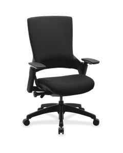 """Lorell Serenity Series Executive Multifunction High-back Chair - Fabric Seat - Fabric Back - Black - 25.3"""" Width x 23.5"""" Depth x 40.5"""" Height - 1 Each"""