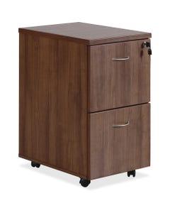 "Lorell Essentials Walnut F/F Mobile Pedestal, 2-Drawer, 15.8"" x 22""28.4"" Pedestal, 1.5"" Caster, 2 x File Drawer(s), Material: Polyvinyl Chloride (PVC) Edge, Metal Handle, Finish: Laminate, Walnut, Silver Brush Handle"