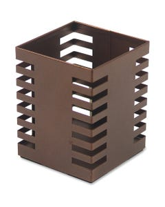 """Lorell Stamped Metal Square Pencil Cup - 4.3"""" x 3.2"""" x 3.2"""" x - Steel - 1 Each - Bronze"""