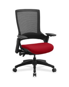 """Lorell Executive Chair - Real Red Seat - 28.4"""" Width x 27.5"""" Depth x 43"""" Height - 1 / Each"""