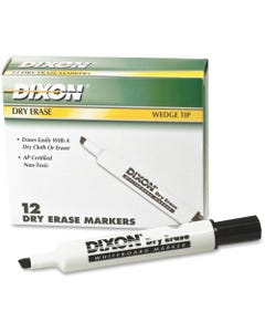 Ticonderoga Dry Erase Whiteboard Markers - Broad, Fine Marker Point - Wedge Marker Point Style - Black - 12 / Dozen