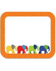 """Carson Dellosa Education Parade of Elephants Colorful Name Tags - 3"""" Width x 2 1/2"""" Length - Rectangle - Multicolor - 40 Total Label(s) - 40 / Pack"""