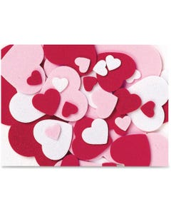 Creativity Street Peel and Stick Hearts - Valentine's Day, Birthday Theme/Subject - 264 (Heart) Shape - Self-adhesive - Durable, Easy Peel - Red, Pink, White - Foam - 264 / Pack