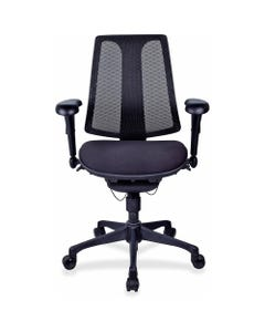 "Lorell Posture Lock Mesh Back Chair - Fabric Seat - Black Plastic Frame - 5-star Base - Black - 19.10"" Seat Width x 20.10"" Seat Depth - 25"" Width x 14.4"" Depth x 42"" Height - 1 Each"