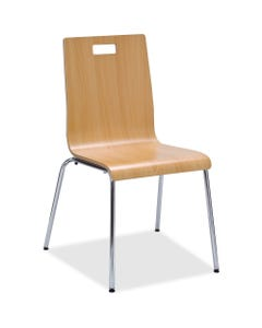 """Lorell Bentwood Cafe Chair - Steel Frame - Natural - Plywood, Bentwood - 21"""" Width x 20.5"""" Depth x 34"""" Height - 2 / Carton"""