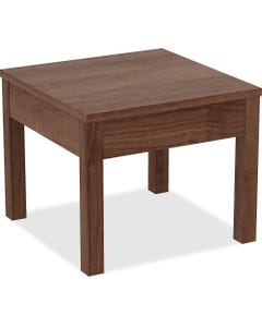 """Lorell Corner Table - Square Top - Melamine Laminate Base - 24"""" Table Top Width x 24"""" Table Top Depth x 1"""" Table Top Thickness - 20"""" Height - Assembly Required - Walnut, Melamine"""