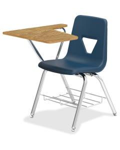 "Lorell Tablet Arm Study Top Student Combo Desks - 2/CT - Tubular Steel Frame - Four-legged Base - Navy - Polypropylene - 29.5"" Width x 20"" Depth x 30"" Height - 2 / Carton"