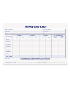 TOPS™ Weekly Time Sheets, 5 1/2 X 8 1/2, 50/Pad, 2/Pack
