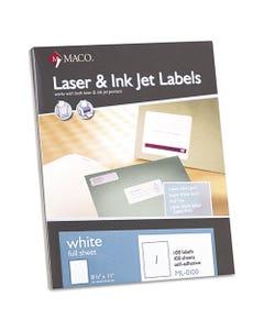 MACO® White Laser/Inkjet Full-Sheet Identification Labels, Inkjet/Laser Printers, 8.5 X 11, White, 100/Box