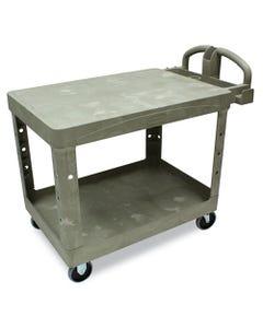 Rubbermaid® Commercial Flat Shelf Utility Cart, Two-Shelf, 25.25W X 44D X 38.13H, Beige