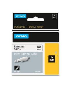 "DYMO® Rhino Heat Shrink Tubes Industrial Label Tape, 0.37"" X 5 Ft, White/Black Print"