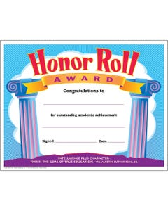 """Trend Honor Roll Award Certificate - """"Honor Roll Award"""" - 8.50"""" x 11"""" - Assorted - 30 / Pack"""