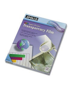 Apollo® Color Laser Transparency Film, Letter, Clear, 50/Box