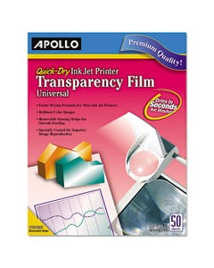 Apollo® Quick-Dry Color Inkjet Transparency Film, Letter, Clear, 50/Box