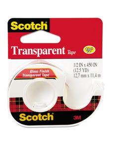 "Scotch® Transparent Tape In Handheld Dispenser, 1"" Core, 0.5"" X 37.5 Ft, Transparent"