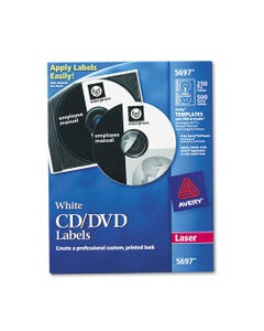 Avery® Laser Cd Labels, Matte White, 250/Pack