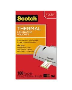 """Scotch™ Laminating Pouches, 5 Mil, 3.75"""" X 2.38"""", Gloss Clear, 100/Pack"""