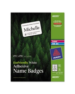 Avery® Ecofriendly Adhesive Name Badge Labels, 3.38 X 2.33, White, 80/Pack