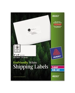Avery® Ecofriendly Mailing Labels, Inkjet/Laser Printers, 2 X 4, White, 10/Sheet, 25 Sheets/Pack