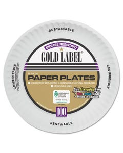 AJM Packaging Corporation Coated Paper Plates, 9 Inches, White, Round, 100/Pack