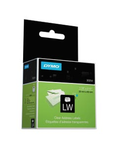 """DYMO® Labelwriter Address Labels, 1.12"""" X 3.5"""", Clear, 130 Labels/Roll"""