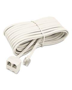 Softalk® Telephone Extension Cord, Plug/Dual Jack, 25 Ft., Almond