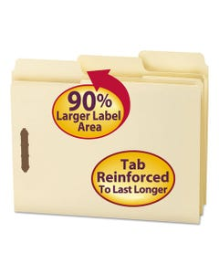 Smead® Supertab Reinforced Guide Height 2-Fastener Folders, 1/3-Cut Tabs, Letter Size, 11 Pt. Manila, 50/Box
