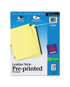 Avery® Preprinted Black Leather Tab Dividers W/Copper Reinforced Holes, 31-Tab, Letter