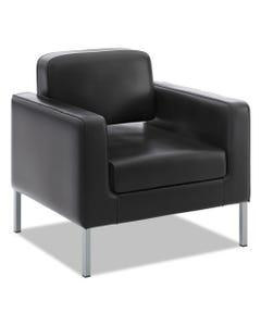 "HON® Corral Club Chair, 31.5"" X 28"" X 30.5"", Black Seat/Black Back, Platinum Base"
