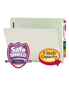 """Smead® End Tab 1"""" Expansion Pressboard File Folders W/Two Safeshield Coated Fasteners, Straight Tab, Letter Size, Gray-Green, 25/Box"""