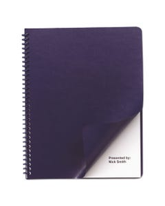 GBC® Leather Look Presentation Covers For Binding Systems, 11.25 X 8.75, Navy, 100 Sets/Box